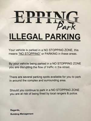 illegal parking notice