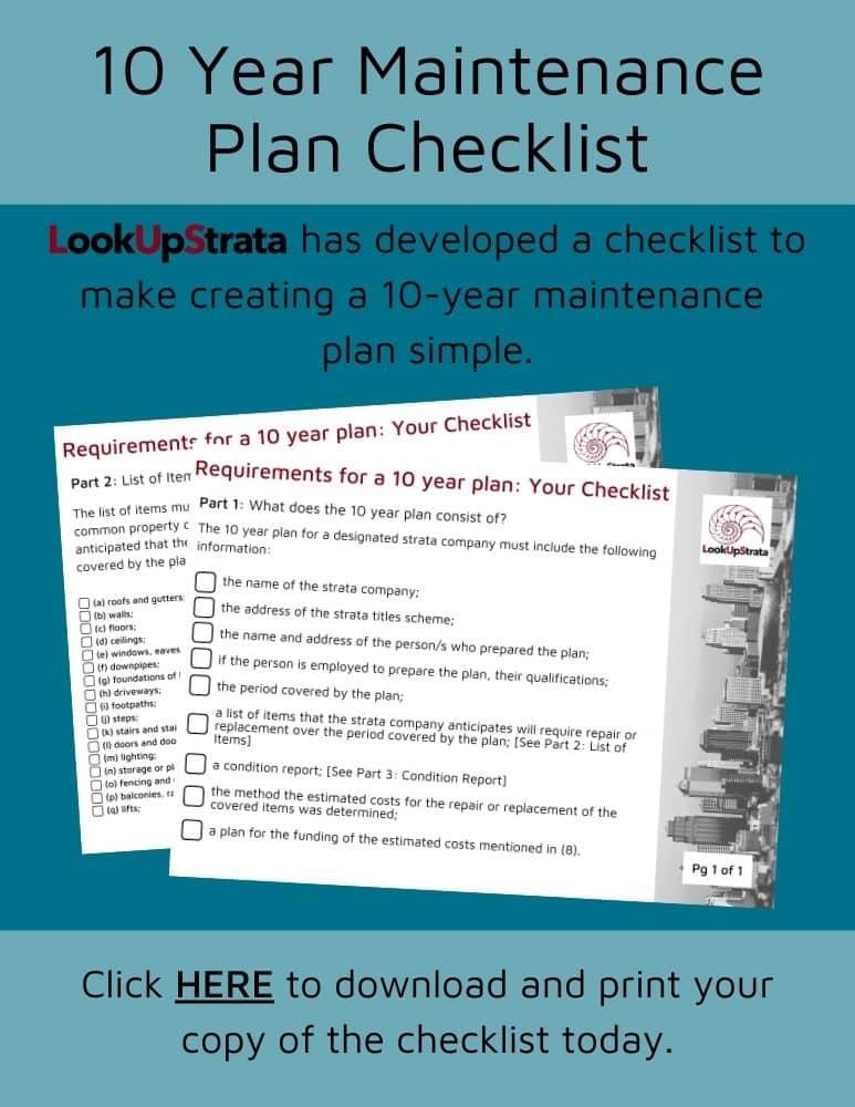 free 10 year maintenance plan checklist